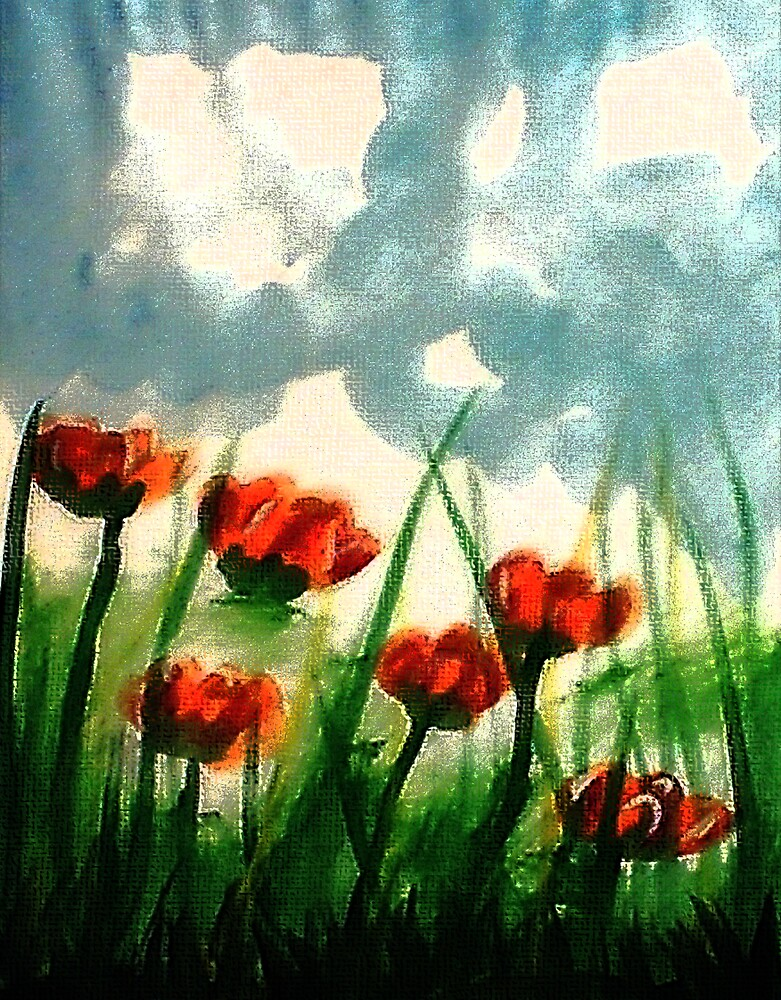 Pink Poppies on a cloudy day, watercolor by Anna  Lewis, blind artist