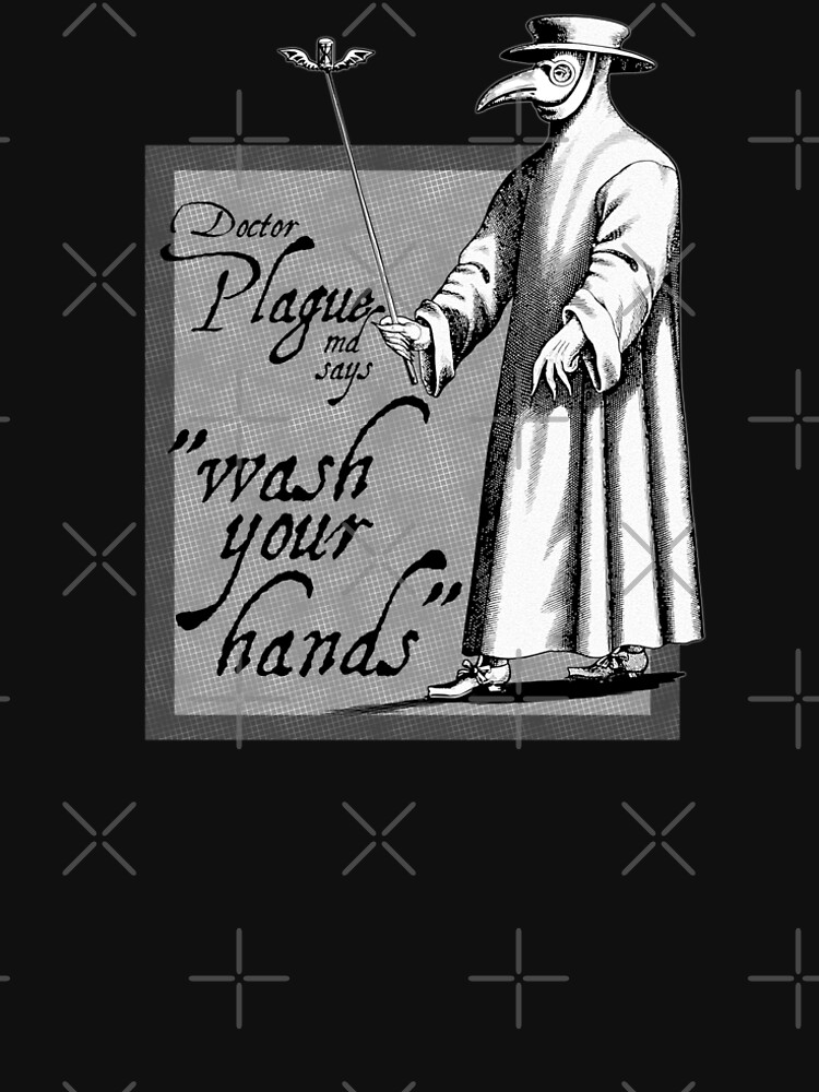 Doctor Plague says wash your hands gray health awareness art comic book style by Fashionmonger