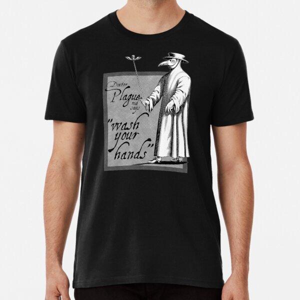 Doctor Plague says wash your hands gray health awareness art comic book style Premium T-Shirt