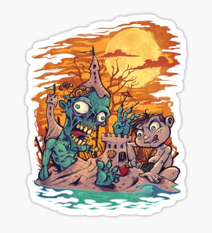 Zombie At The Beach  Sticker