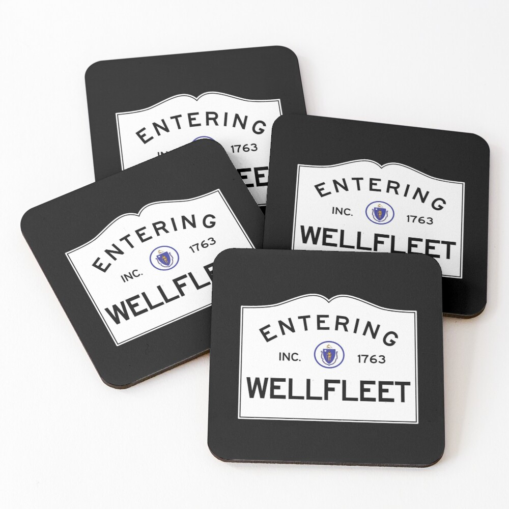 Entering Wellfleet - Commonwealth of Massachusetts Road Sign Coasters (Set of 4)