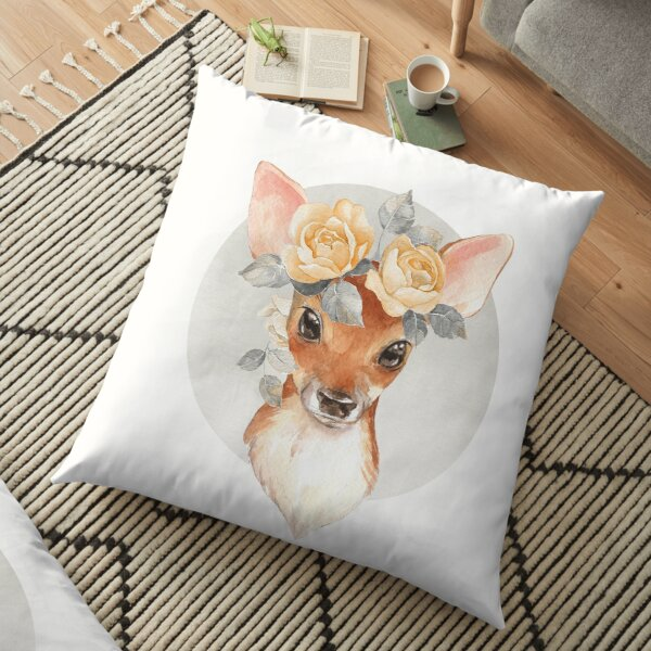Fawn with yellow roses Floor Pillow