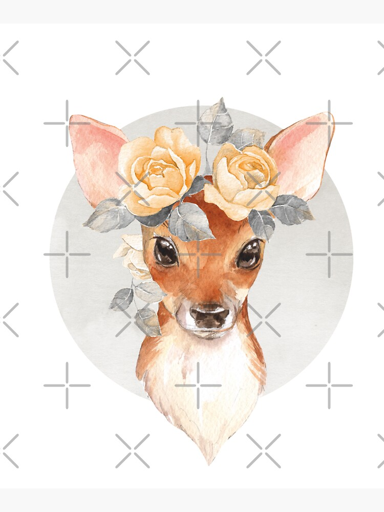 Fawn with yellow roses by Gribanessa