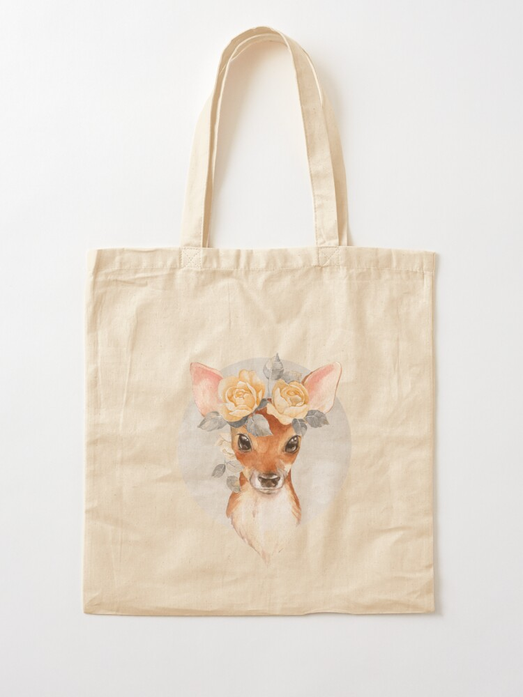 Alternate view of Fawn with yellow roses Tote Bag