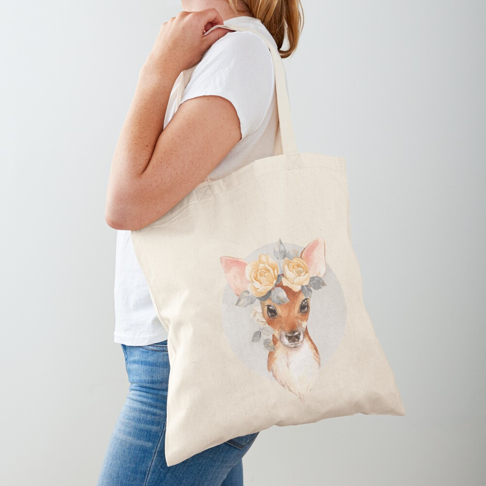 Fawn with yellow roses Tote Bag