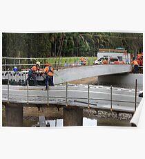 Men At Work On A Rural Bridge Poster