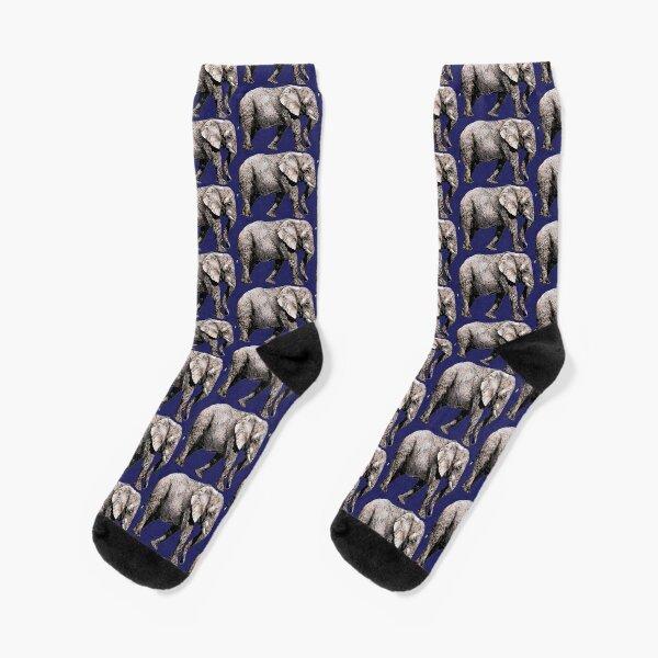Majestic African Elefant bull on blue background Socks