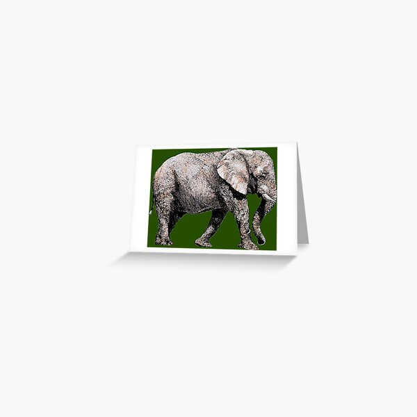 Majestic African Elefant bull on green background Greeting Card