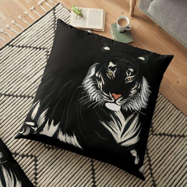 Tigre - Noir et Blanc Coussin de sol