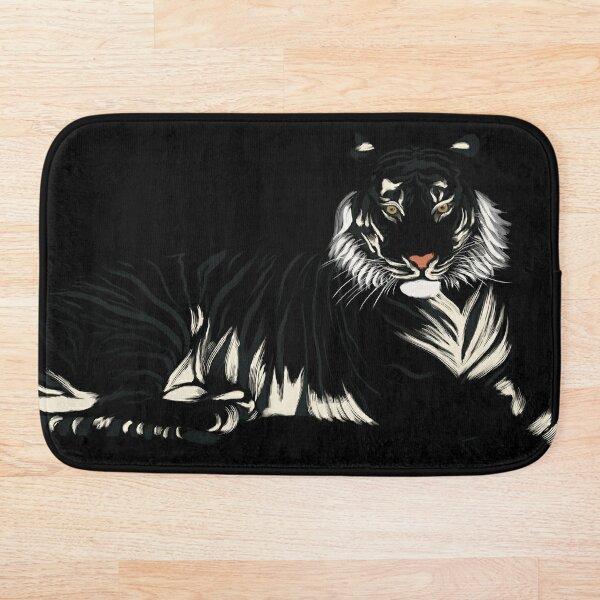 Tigre - Noir et Blanc Tapis de bain