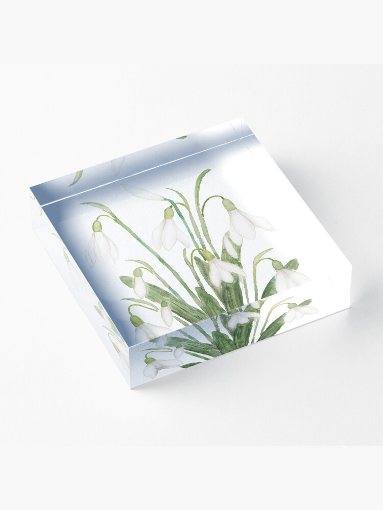 Alternate view of white snowdrop flower botanical watercolor painting  Acrylic Block