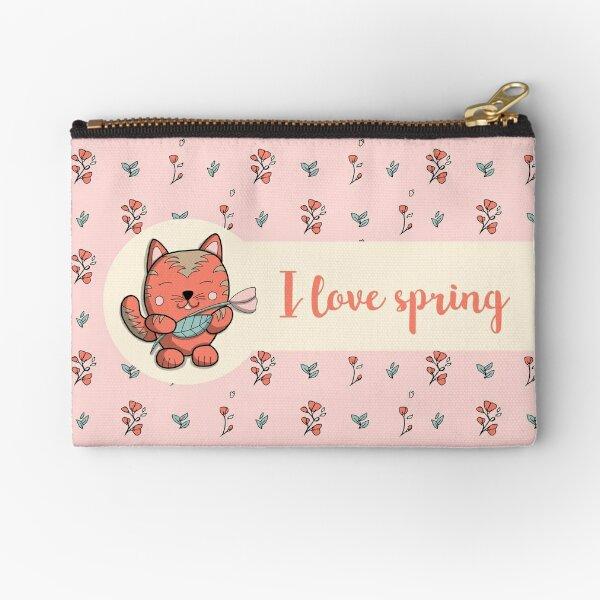 I love spring - Chat doodle Pochette