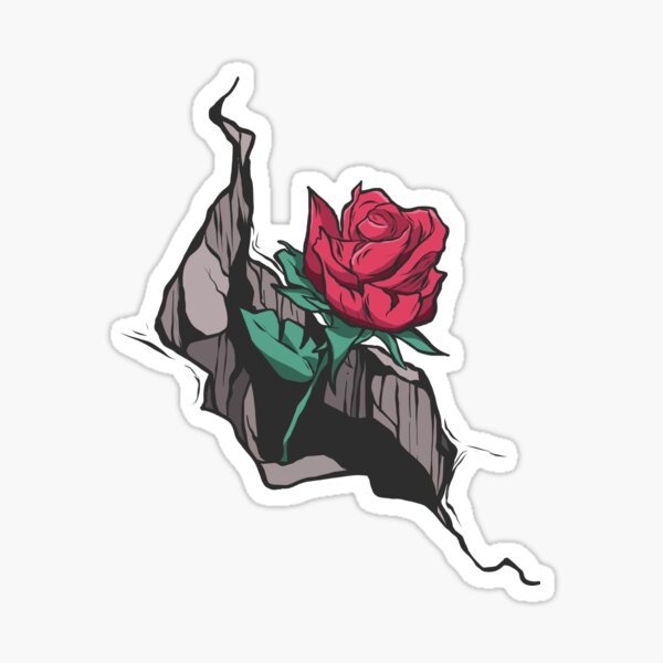 Rose grows out of the street Sticker