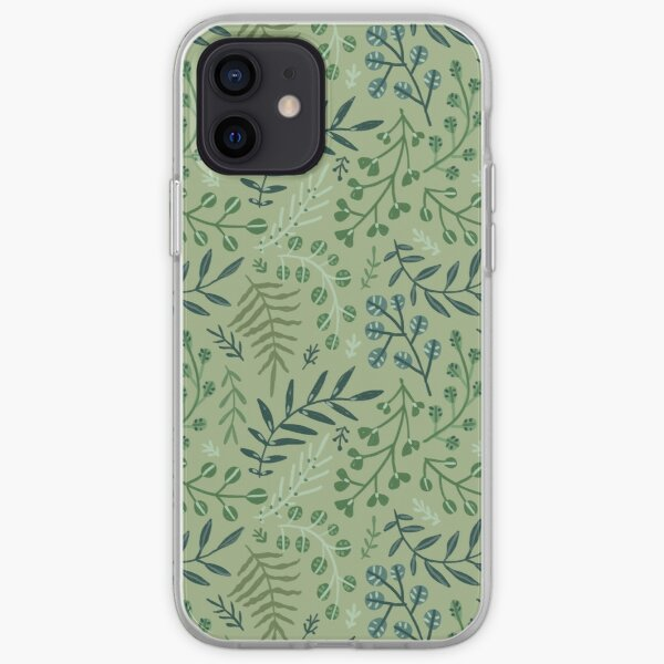 green leaves. leaf. nature. wild floral flowers iPhone Soft Case