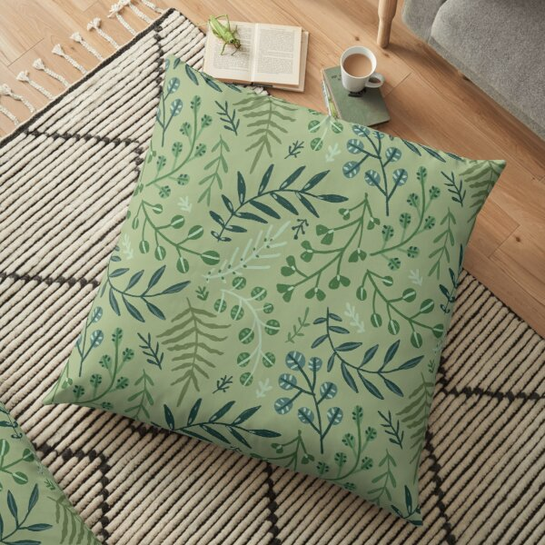 green leaves. leaf. nature. wild floral flowers Floor Pillow