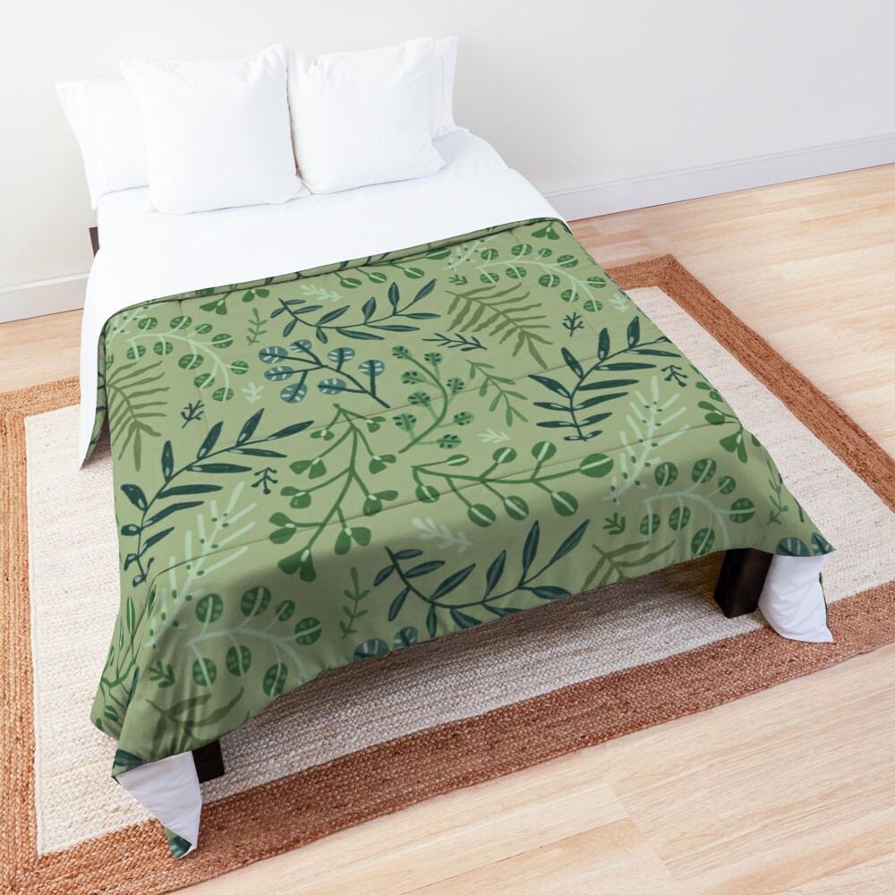 green leaves. leaf. nature. wild floral flowers Comforter