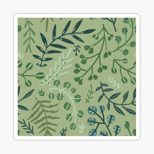 green leaves. leaf. nature. wild floral flowers Sticker