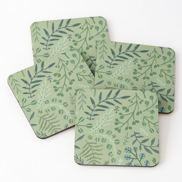green leaves. leaf. nature. wild floral flowers Coasters (Set of 4)