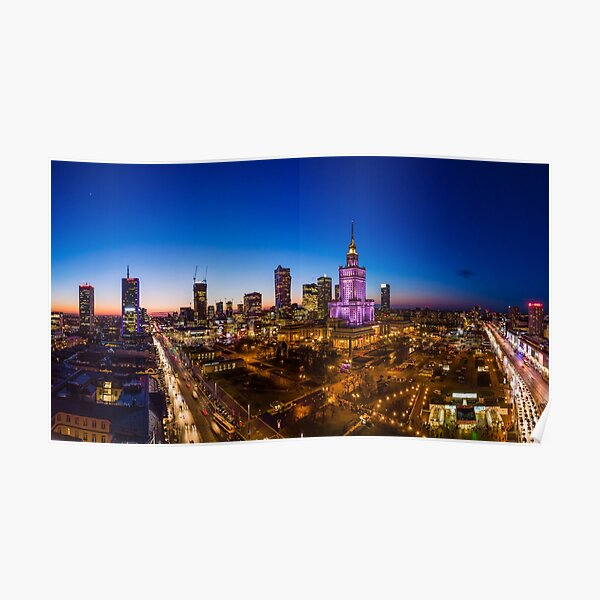 Warsaw city center at dusk aerial view Poster