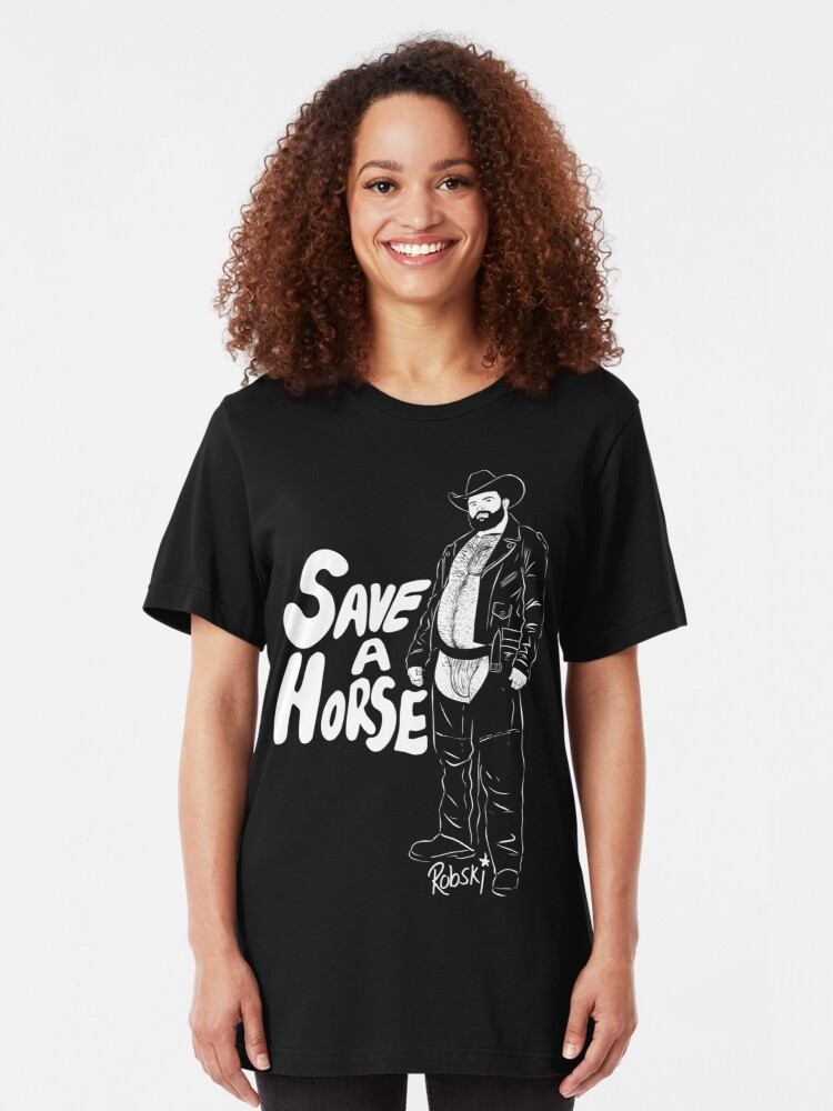 Alternate view of Save a Horse - White lines Slim Fit T-Shirt