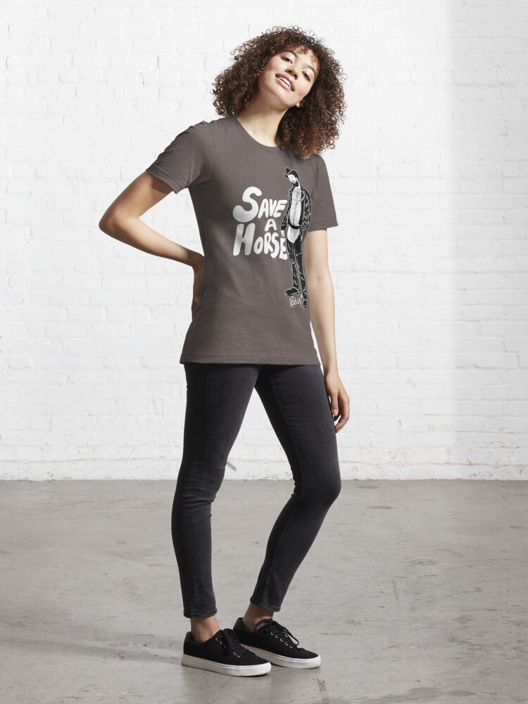 Alternate view of Save a Horse - Black lines Essential T-Shirt