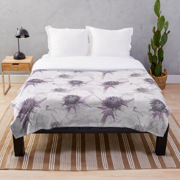 Purple thistle ink and watercolour style pop art Throw Blanket