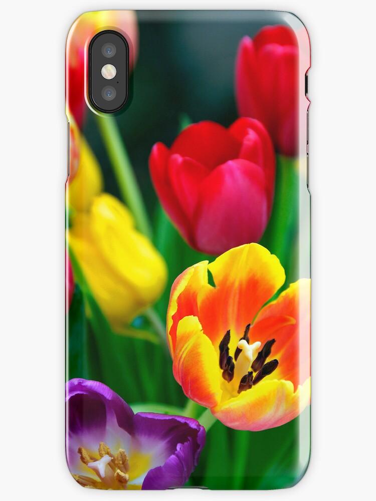 iphone case Tulips by David Carton