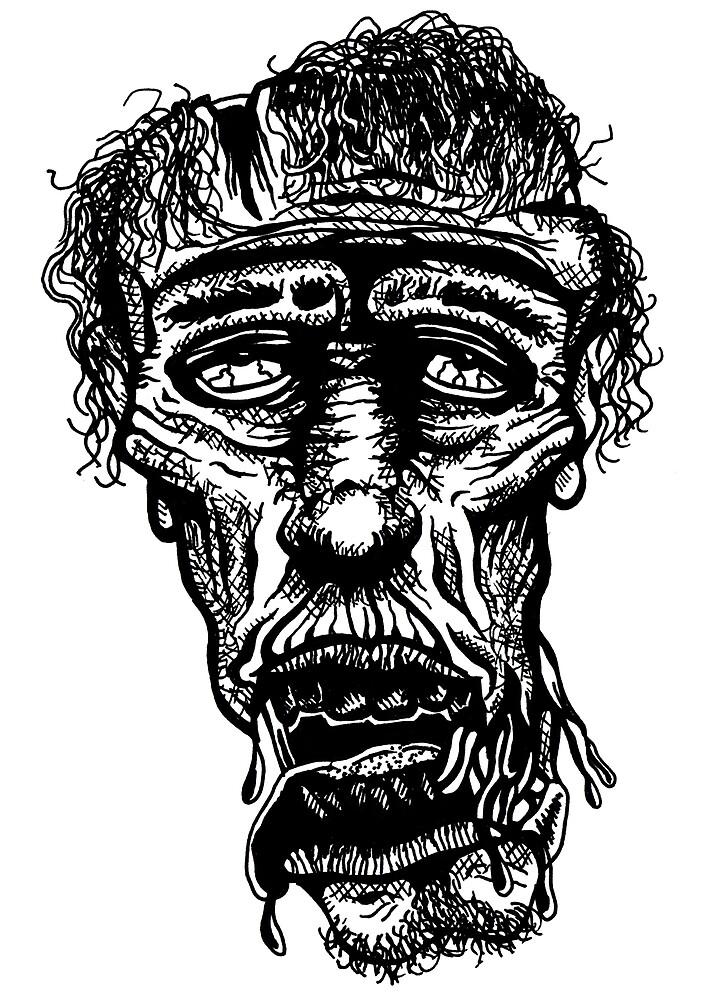 Slack-Jaw Zombie by redfeatherone