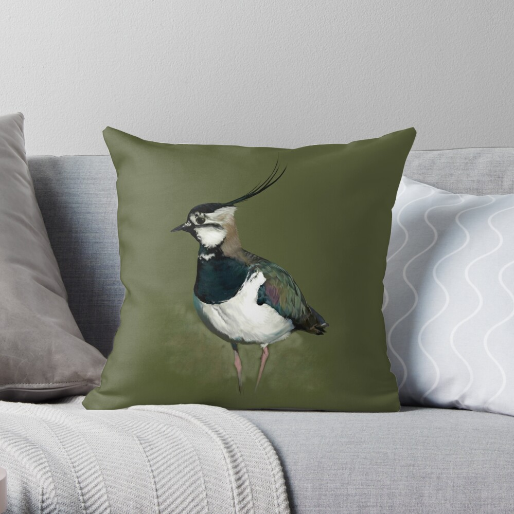 Northern Lapwing Study Throw Pillow
