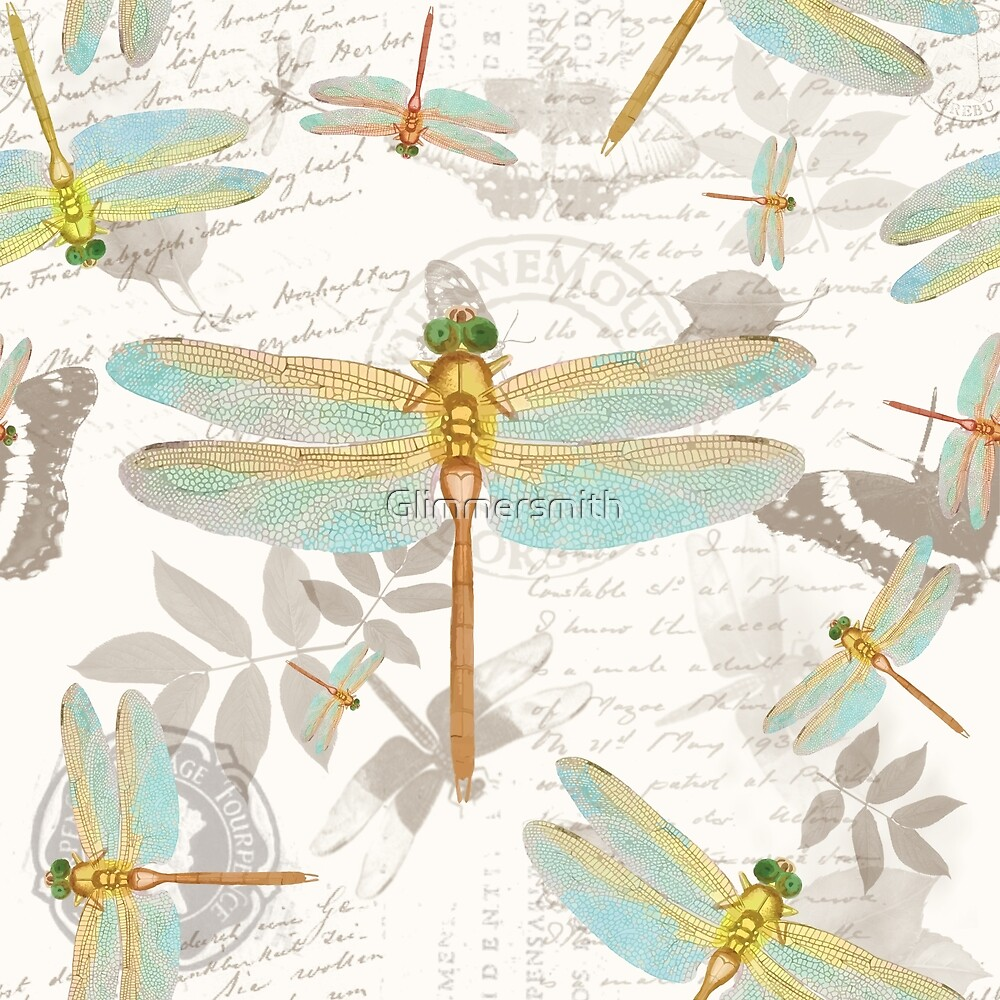 Vintage Botanicals collection dragonflies on the wing by Glimmersmith