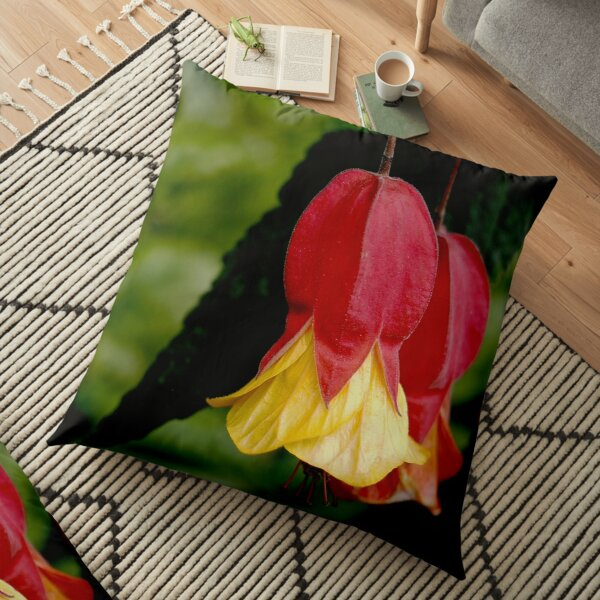 Red and Yellow Bells - Abutilon Flowers Floor Pillow by Douglas E. Welch