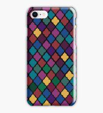 Moroccan Pattern - Jewel Toned (Black Border) iPhone Case/Skin