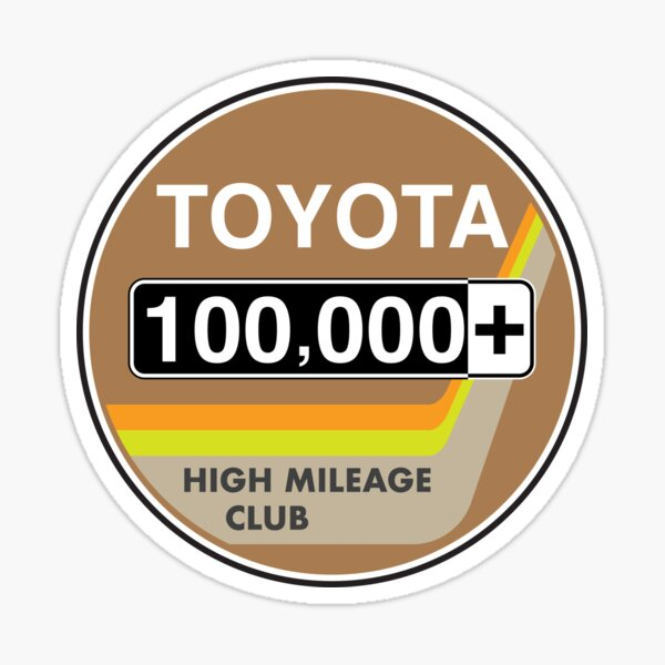 Toyota High Mileage Club - 100,000+ Miles (2KB Version) Sticker