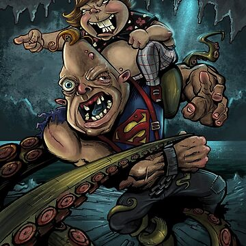 Sloth and Chunk vs. The Giant Squid by flylanddesigns