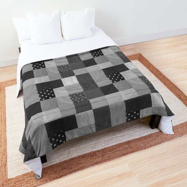 squares of black and white vintage patchwork fabric Comforter