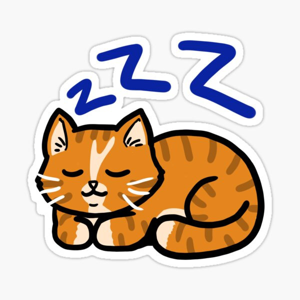 Sleepy Orange Kitty Sticker