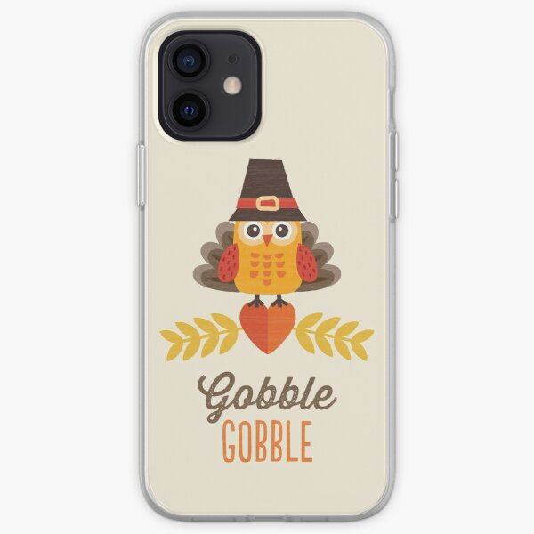 Thanksgiving Owl in Turkey Costume and Pilgrim Hat iPhone Soft Case
