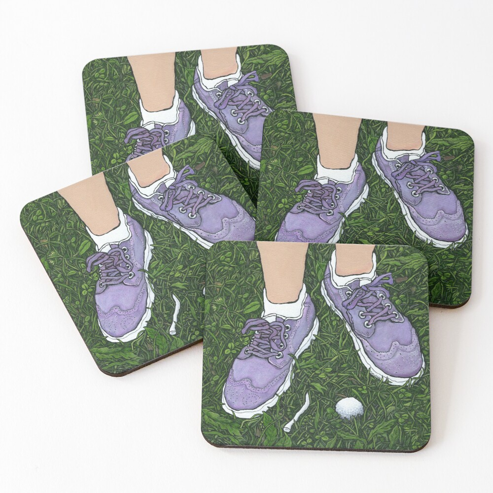 """Golf Shoes""~Painting by Dawn Langstroth ©2020 Coasters (Set of 4)"