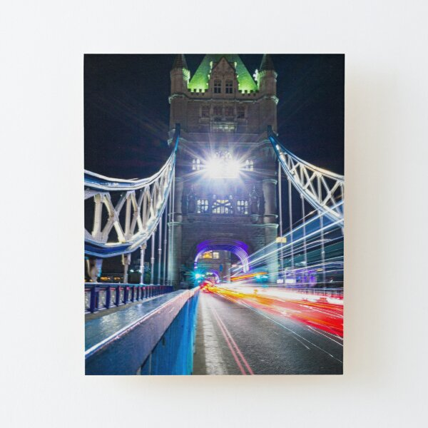 Tower Bridge Light Trails Wood Mounted Print