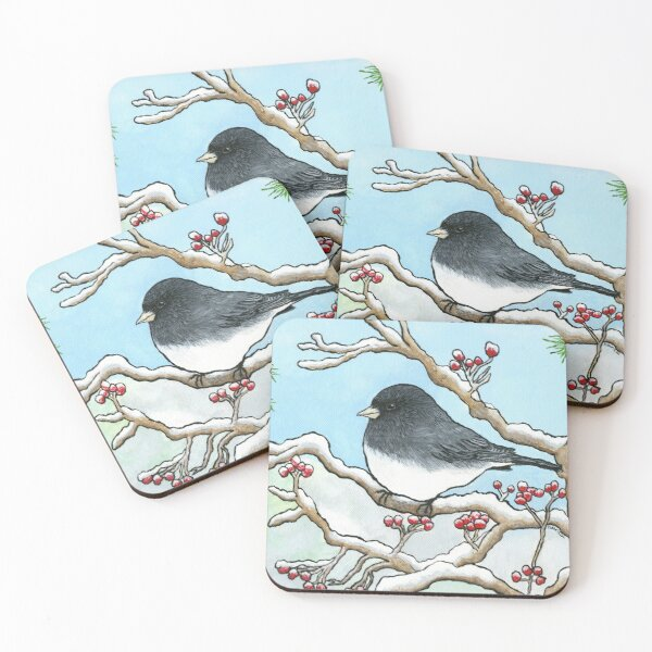 """Snowbird"", Painting by Dawn Langstroth ©2020 Coasters (Set of 4)"