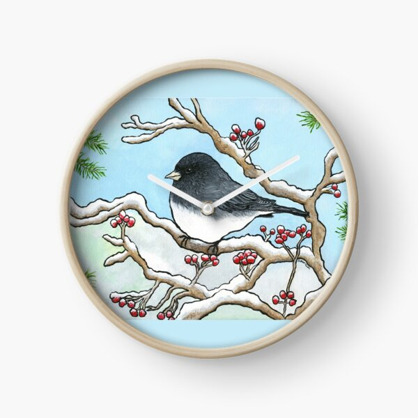 """Snowbird"", Painting by Dawn Langstroth ©2020 Clock"