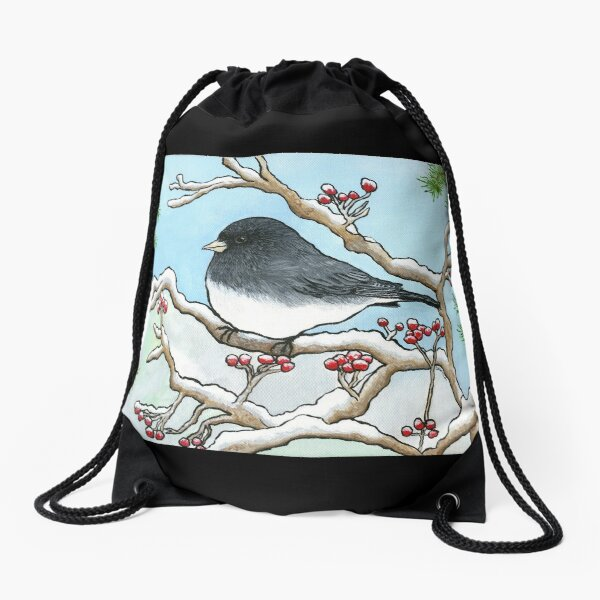 """Snowbird"", Painting by Dawn Langstroth ©2020 Drawstring Bag"