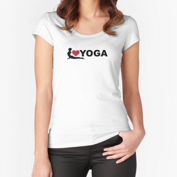 Yoga Love Figur Tailliertes Rundhals-Shirt
