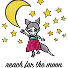 Reach for the Moon: Cute Whimsical Wolf Moon Drawing by mellierosetest
