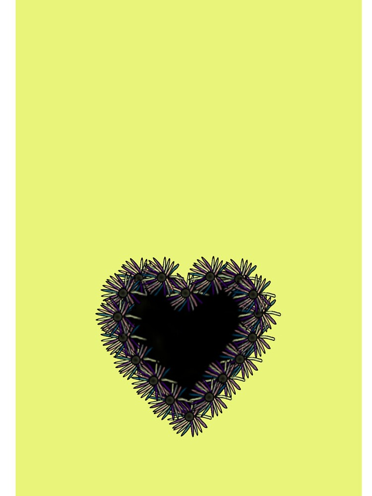 Yellow iPhone Case With Black Heart Design by lollly
