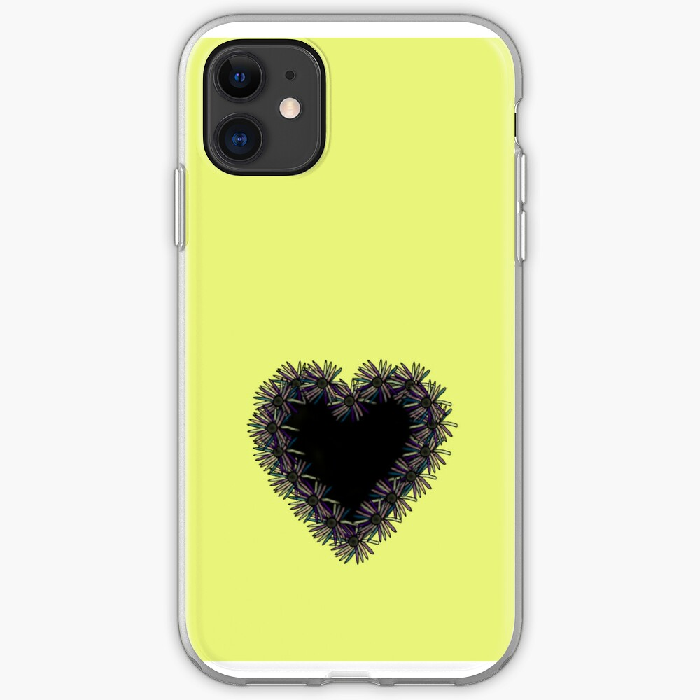 Yellow iPhone Case With Black Heart Design iPhone Case & Cover