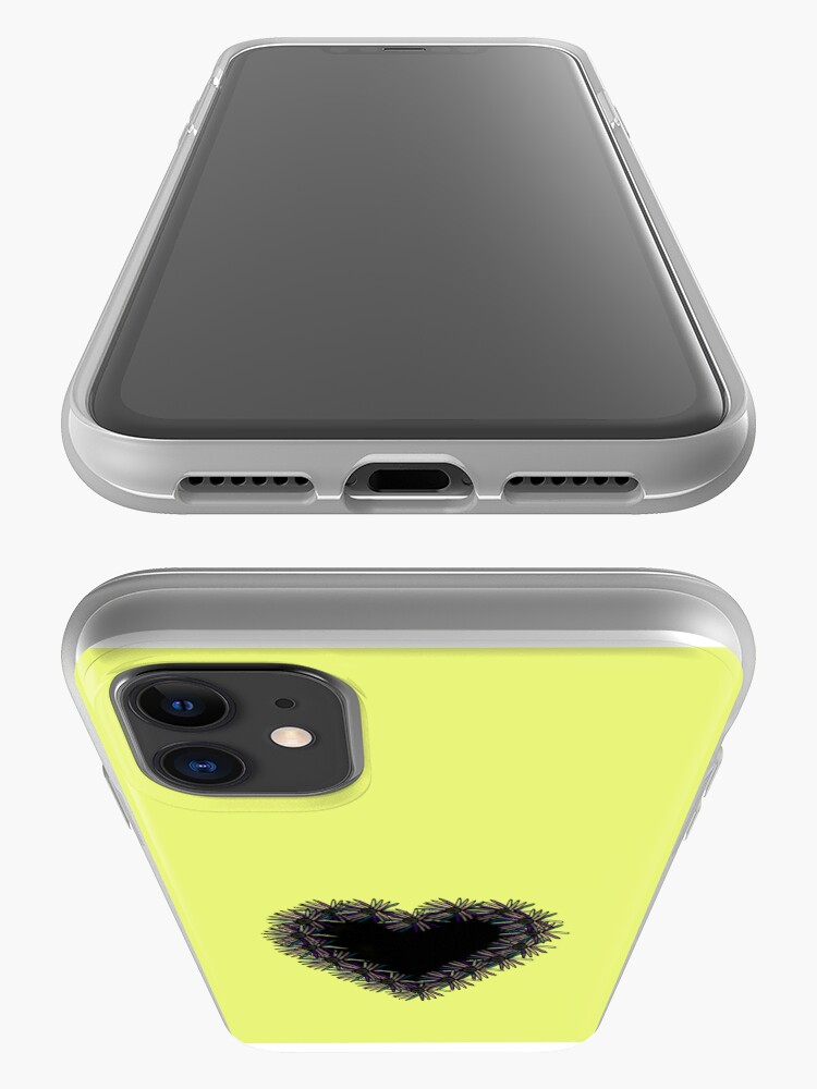 Alternate view of Yellow iPhone Case With Black Heart Design iPhone Case & Cover