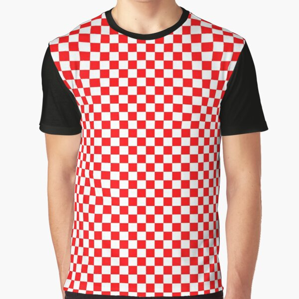 Red and White Christmas Check Squares Graphic T-Shirt
