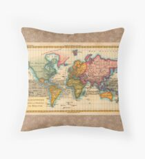 World Map 1700s Antique Vintage Hemisphere Continents Geography Throw Pillow