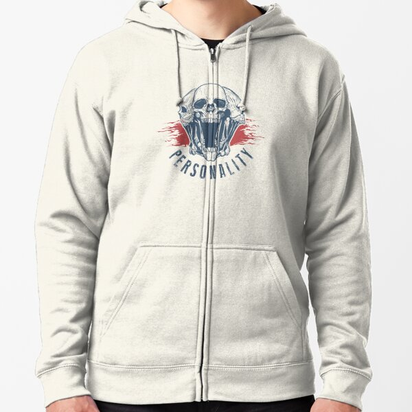personality yourself skull Zipped Hoodie
